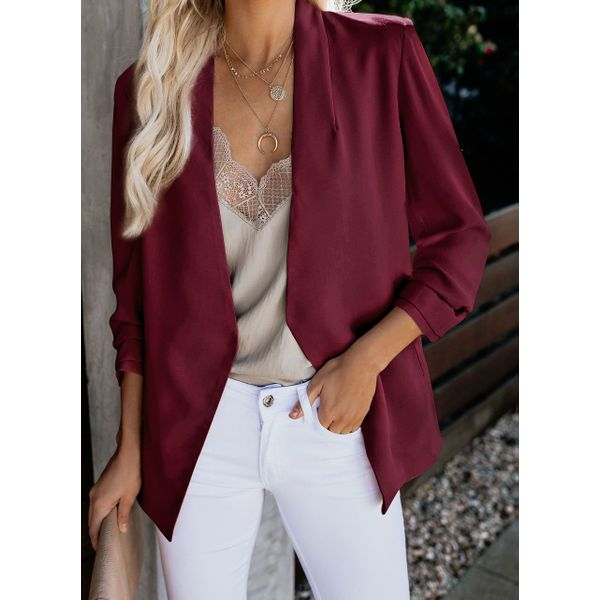 Long Sleeve Lapel Blazers Coats (1715450738, Apricot;black;burgundy;pink;royal blue;white;purple;military green
