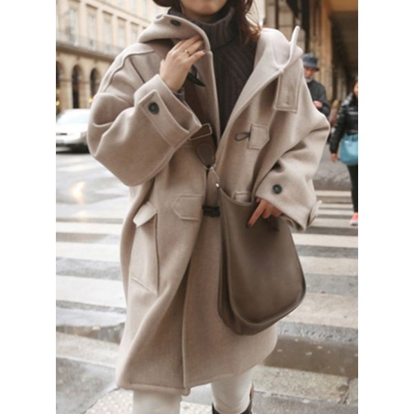 Airycloth coupon: Long Sleeve Hooded Buttons Pockets Duffle Coats (1715344300)