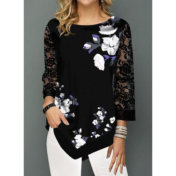 FloryDay / Floral Casual Round Neckline 3/4 Sleeves Blouses (1645534003)