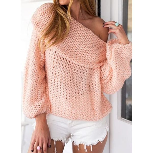 Off the Shoulder Solid Loose Regular Shift Sweaters (1675378844, Black;pink;off-white;coffee