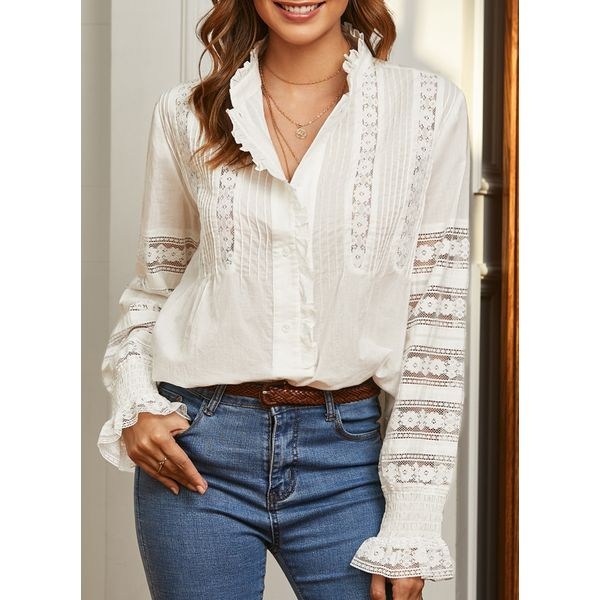 Airycloth coupon: Solid Stand Collar Long Sleeve Blouses (1645426753)