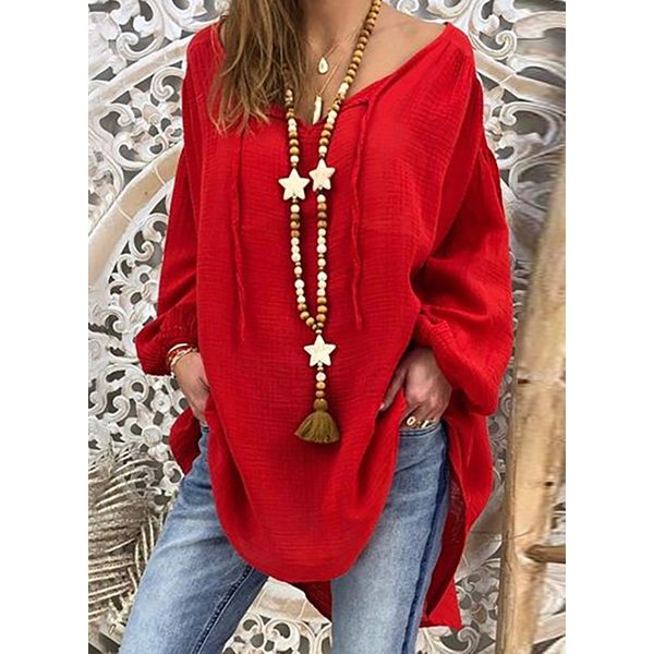 Plus Size Solid Casual V-Neckline Long Sleeve Blouses (1645415628, Red
