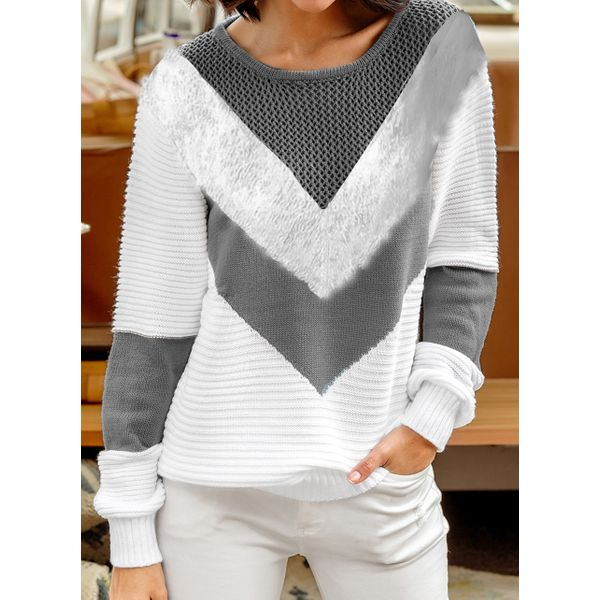 Airycloth coupon: Round Neckline Color Block Casual Short Shift Sweaters (1675453079)