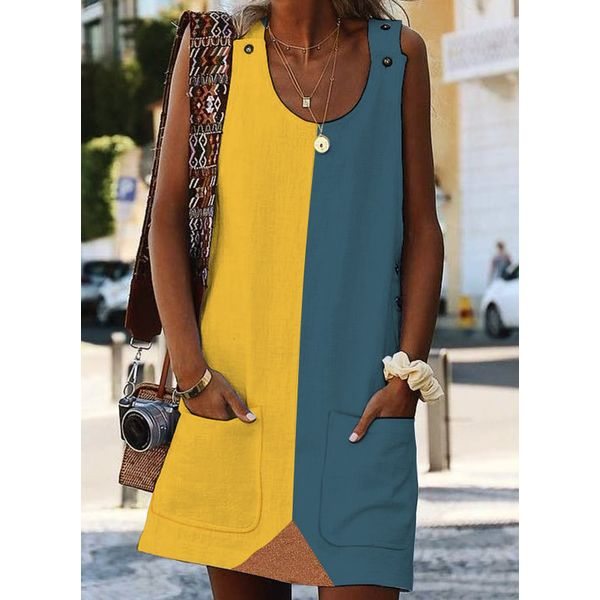 Casual Color Block Round Neckline Above Knee Shift Dress (1955387360, Blue;red;yellow;serpentine