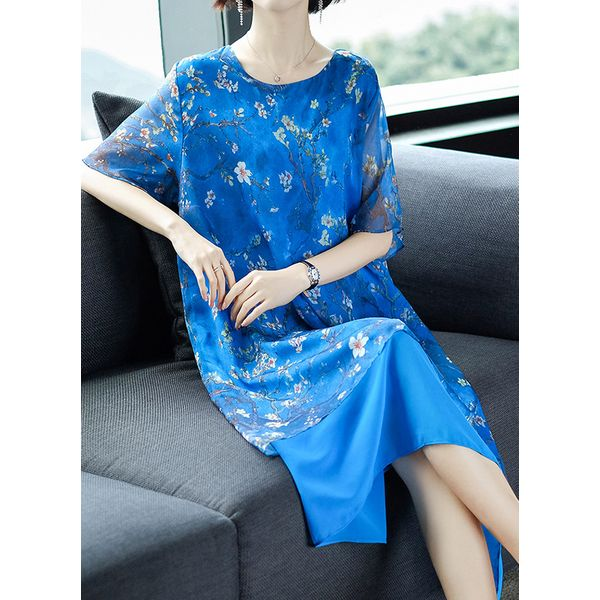 Floral Tunic Round Neckline Midi Shift Dress (1955423348, Blue;green