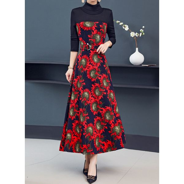 Floral High Neckline Long Sleeve Midi A-line Dress (1955466526, Burgundy