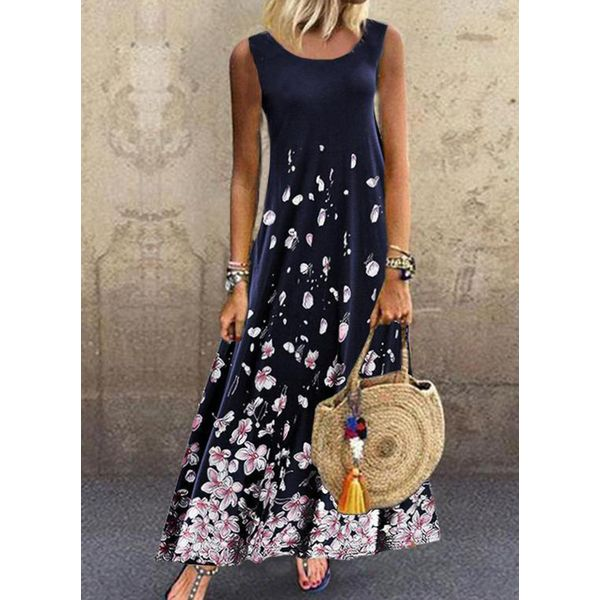 Airycloth coupon: Floral Tunic Round Neckline Maxi A-line Dress (1955595785)