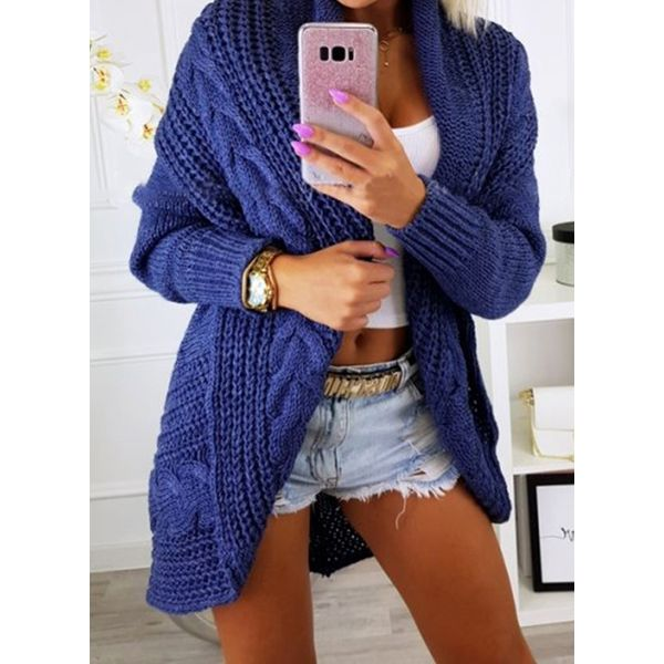 FloryDay / Long Sleeve Collarless Sweaters Coats (1715458281)