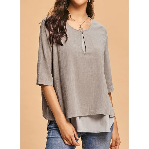 FloryDay / Plus Size Solid Round Neckline Casual Shift Blouses Half Sleeve Plus Blouses (1645412643)