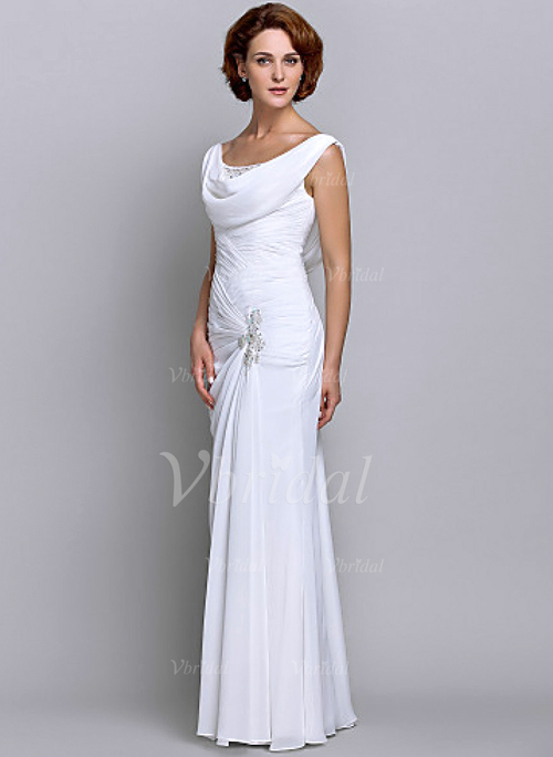 82d5b8dace Sheath Column Cowl Neck Floor-Length Chiffon Mother of the Bride Dress With  Ruffle Beading (0085118321)