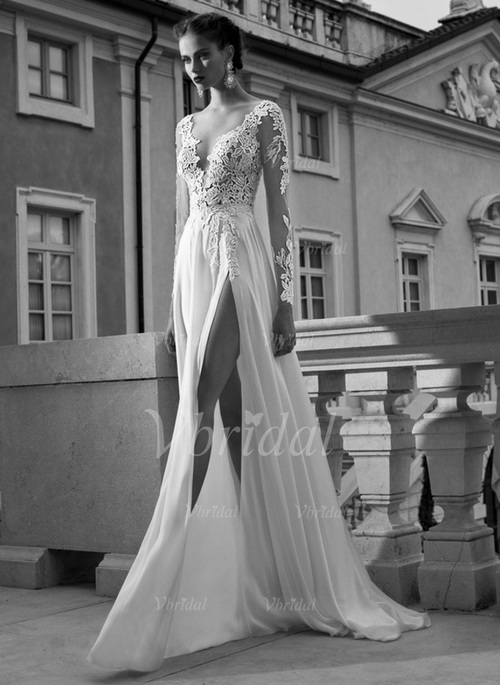 003589d72 A-Line/Princess V-neck Sweep Train Chiffon Tulle Wedding Dress With  Appliques Lace Split Front (0025092363)