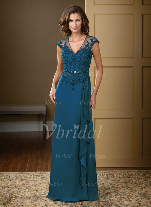 ecbd2bc2a68 A-Line Princess V-neck Floor-Length Chiffon Tulle Mother of the Bride Dress  With Lace Beading Appliques Lace Cascading Ruffles (0085057341)