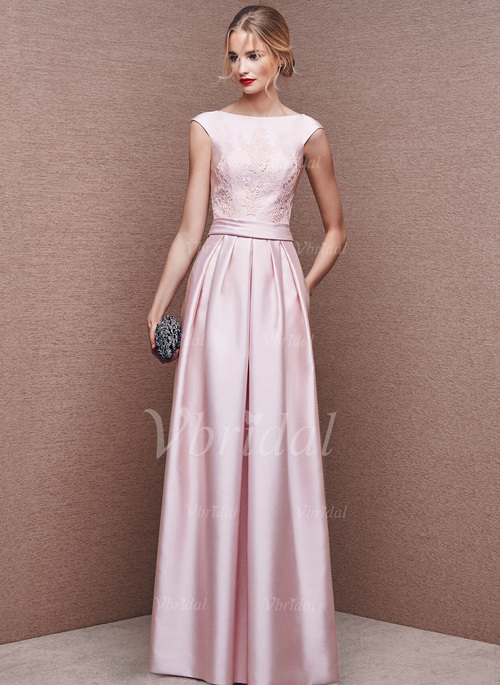 d6799be139a A-Line Princess Scoop Neck Floor-Length Satin Evening Dress With Ruffle  Appliques Lace (0175092719)