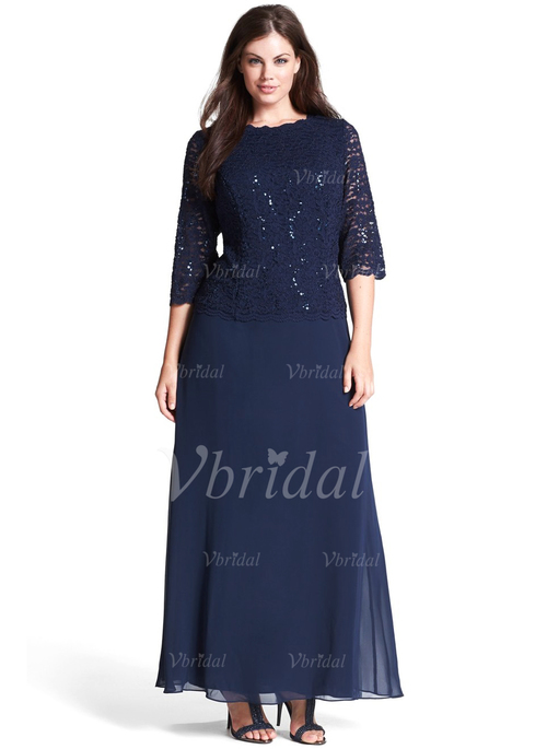 a17b618bc8 A-Line Princess Scoop Neck Floor-Length Chiffon Lace Mother of the Bride  Dress With Sequins (0085098900)