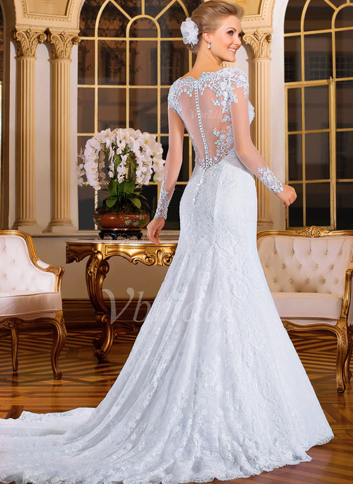 b50fb3822f07f Trumpet/Mermaid V-neck Court Train Tulle Lace Wedding Dress With Beading  Appliques Lace (0025093717)